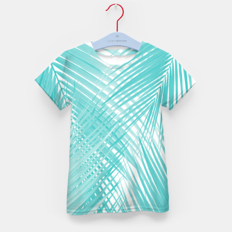 Soft Turquoise Palm Leaves Dream - Cali Summer Vibes #3 #tropical #decor #art T-Shirt für kinder miniature