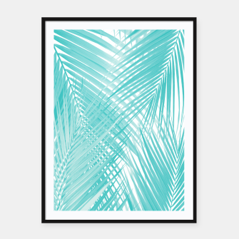 Soft Turquoise Palm Leaves Dream - Cali Summer Vibes #3 #tropical #decor #art Plakat mit rahmen miniature