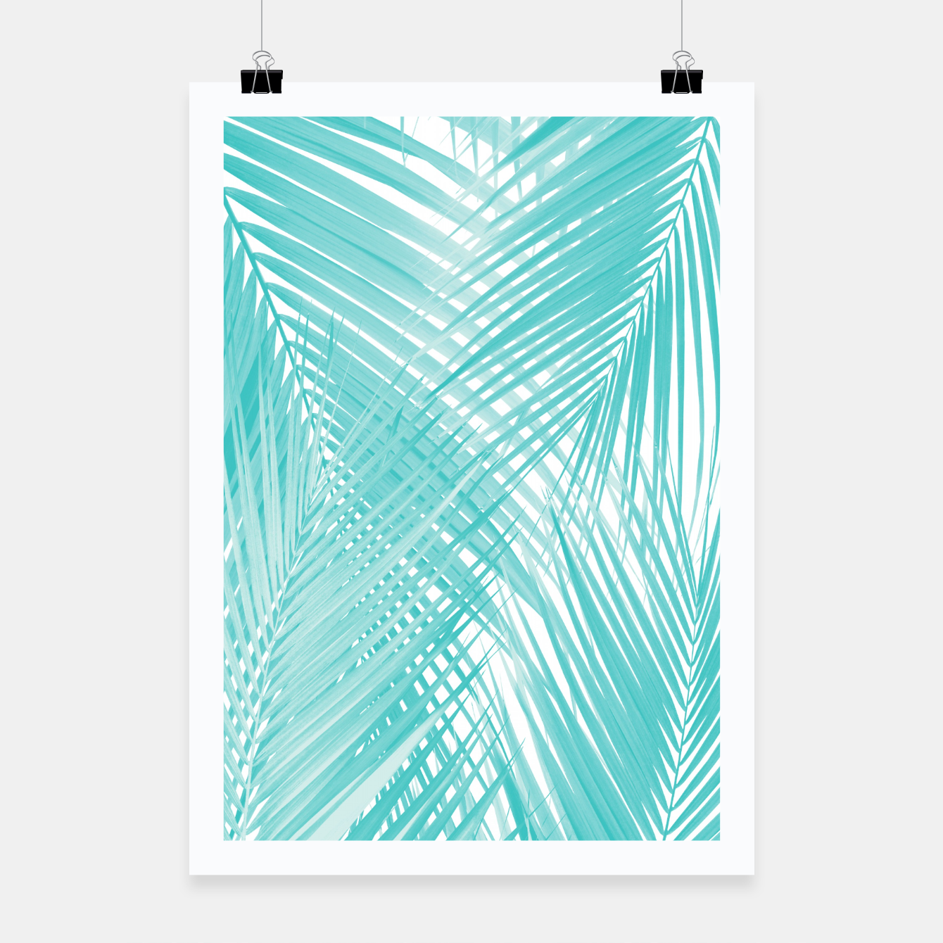Image de Soft Turquoise Palm Leaves Dream - Cali Summer Vibes #3 #tropical #decor #art Plakat - Live Heroes