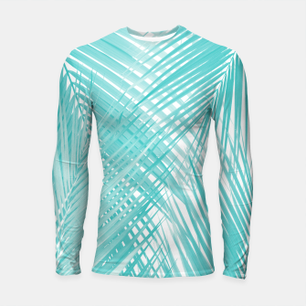 Soft Turquoise Palm Leaves Dream - Cali Summer Vibes #3 #tropical #decor #art Longsleeve rashguard miniature