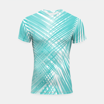 Soft Turquoise Palm Leaves Dream - Cali Summer Vibes #3 #tropical #decor #art Shortsleeve rashguard miniature