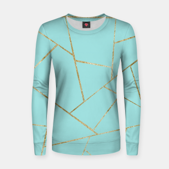 Miniature de image de Soft Turquoise Gold Geometric Glam #1 #geo #decor #art Frauen sweatshirt, Live Heroes