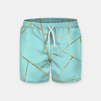 Soft Turquoise Gold Geometric Glam #1 #geo #decor #art Badeshorts miniature