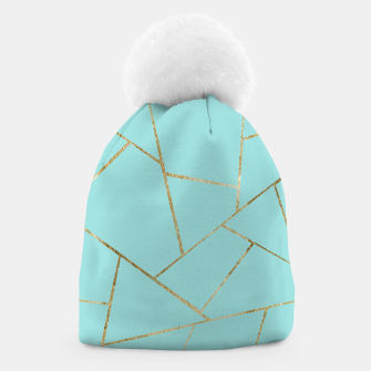 Soft Turquoise Gold Geometric Glam #1 #geo #decor #art Mütze miniature