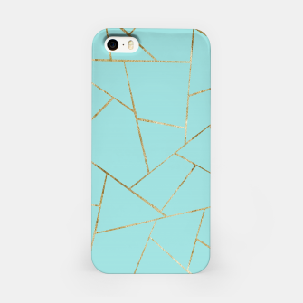 Soft Turquoise Gold Geometric Glam #1 #geo #decor #art iPhone-Hülle miniature