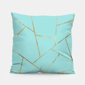 Soft Turquoise Gold Geometric Glam #1 #geo #decor #art Kissen miniature