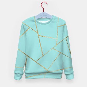 Soft Turquoise Gold Geometric Glam #1 #geo #decor #art Kindersweatshirt miniature