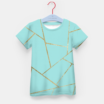 Soft Turquoise Gold Geometric Glam #1 #geo #decor #art T-Shirt für kinder miniature