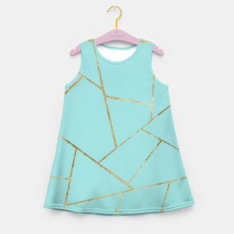Soft Turquoise Gold Geometric Glam #1 #geo #decor #art Mädchen-Sommerkleid miniature