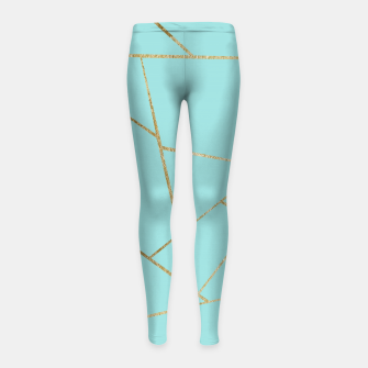 Soft Turquoise Gold Geometric Glam #1 #geo #decor #art Kinder-Leggins miniature