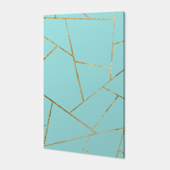 Soft Turquoise Gold Geometric Glam #1 #geo #decor #art Canvas miniature