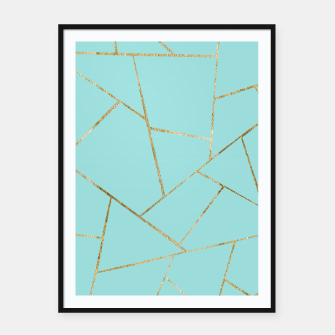 Soft Turquoise Gold Geometric Glam #1 #geo #decor #art Plakat mit rahmen miniature