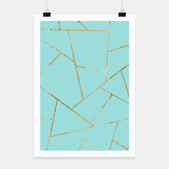 Soft Turquoise Gold Geometric Glam #1 #geo #decor #art Plakat miniature