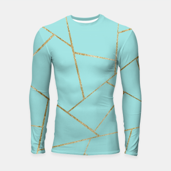 Soft Turquoise Gold Geometric Glam #1 #geo #decor #art Longsleeve rashguard miniature