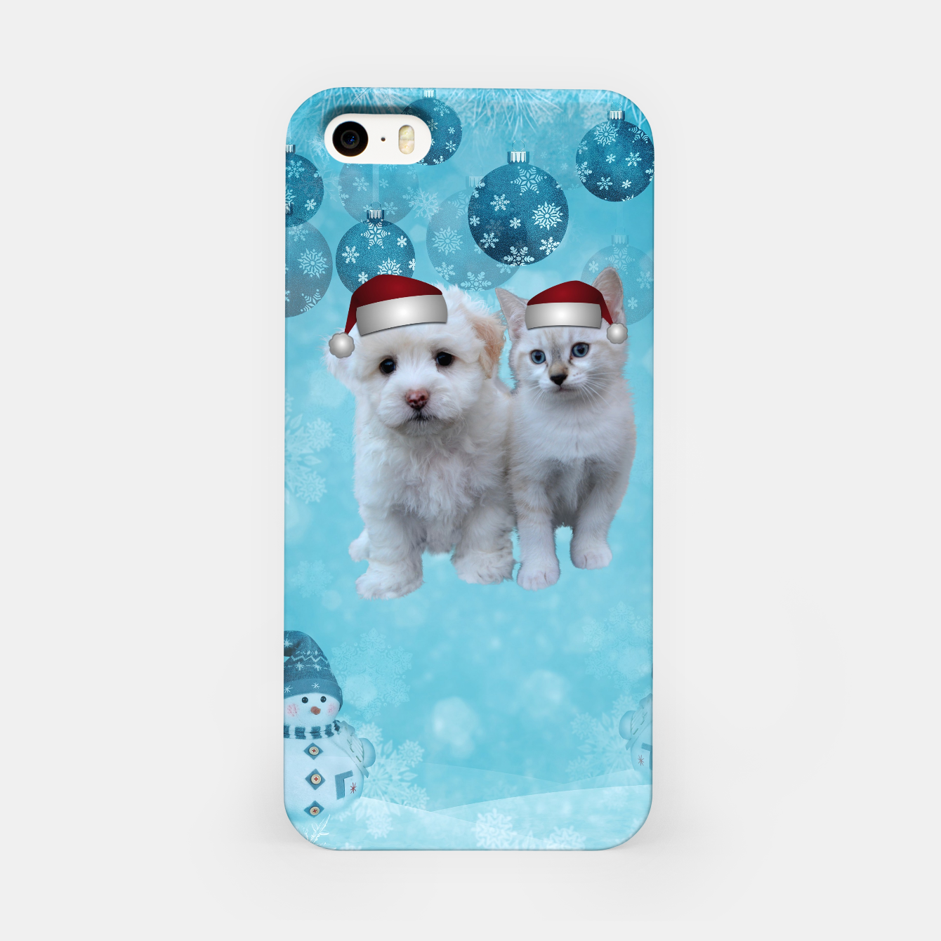 Image of Christmas Cat and Dog iPhone Case - Live Heroes