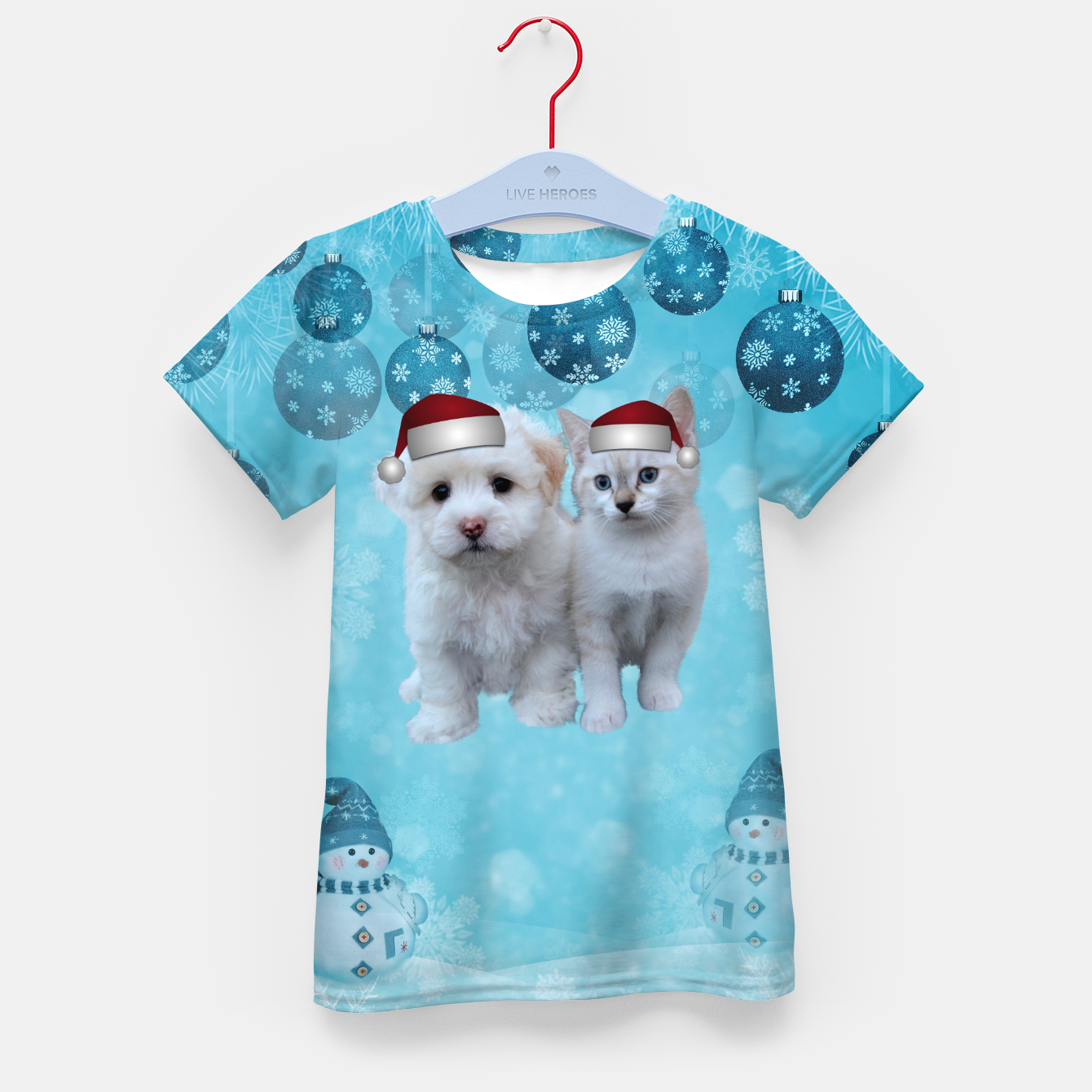 Image of Christmas Cat and Dog Kid's t-shirt - Live Heroes