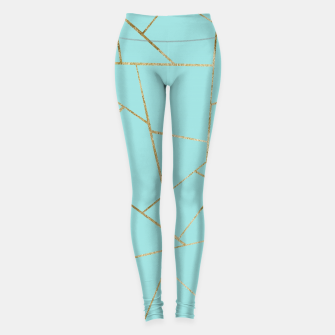 Soft Turquoise Gold Geometric Glam #1 #geo #decor #art Leggings miniature