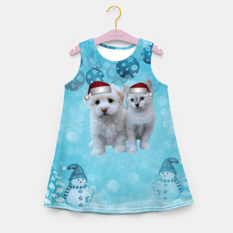 Christmas Cat and Dog Girl's summer dress thumbnail image