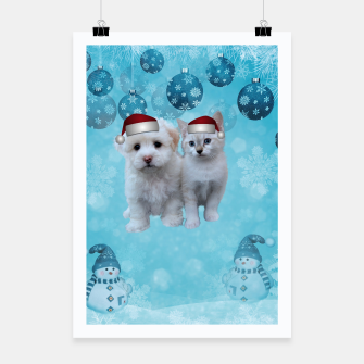 Miniatur Christmas Cat and Dog Poster, Live Heroes
