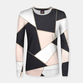 Charcoal Blush White Gold Geometric Glam #1 #geo #decor #art  Frauen sweatshirt obraz miniatury