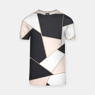 Charcoal Blush White Gold Geometric Glam #1 #geo #decor #art  T-Shirt Bild der Miniatur
