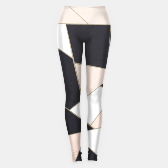 Charcoal Blush White Gold Geometric Glam #1 #geo #decor #art  Leggings Bild der Miniatur