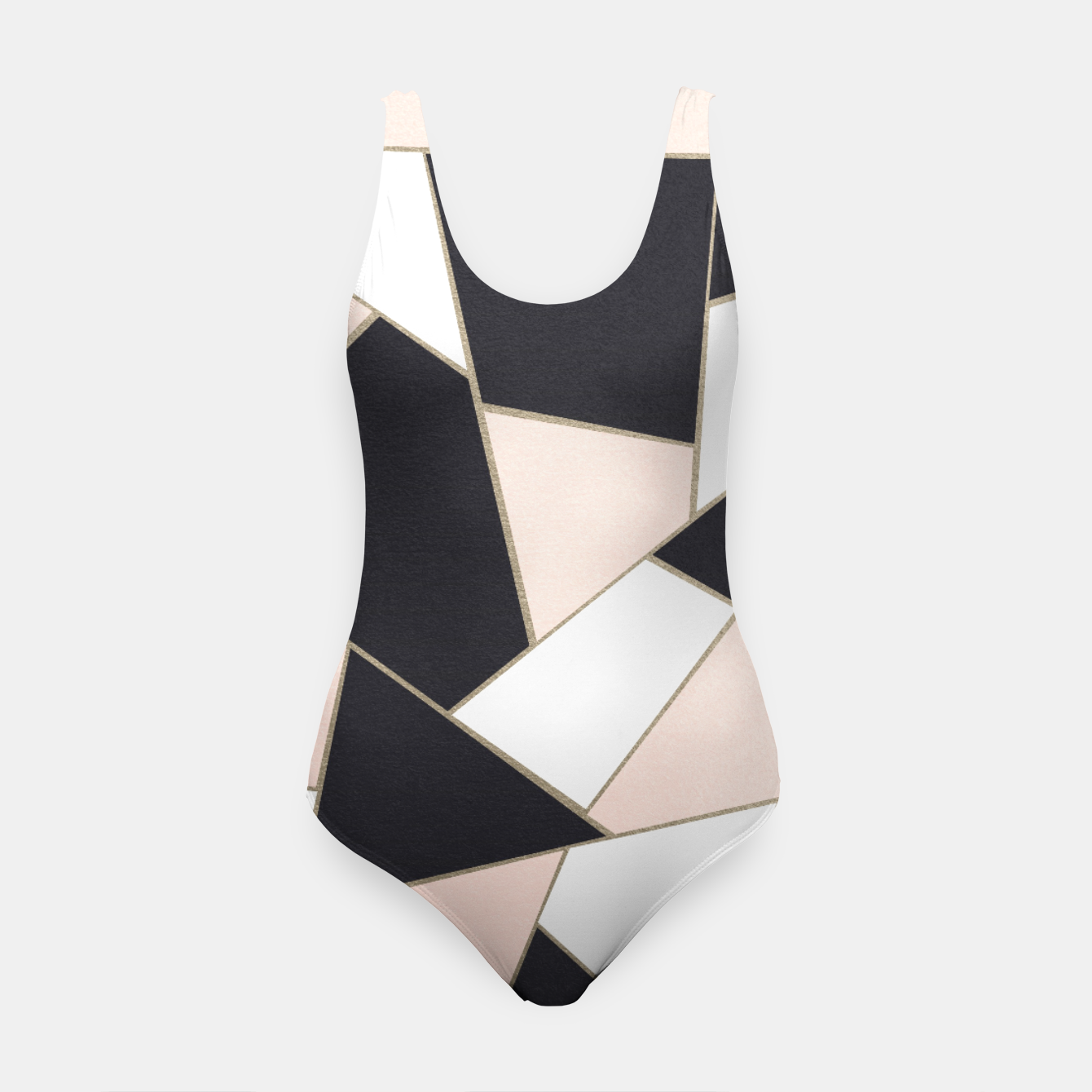 Zdjęcie Charcoal Blush White Gold Geometric Glam #1 #geo #decor #art  Badeanzug - Live Heroes