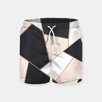 Charcoal Blush White Gold Geometric Glam #1 #geo #decor #art  Badeshorts obraz miniatury