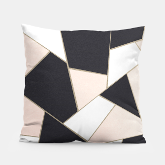 Charcoal Blush White Gold Geometric Glam #1 #geo #decor #art  Kissen Bild der Miniatur