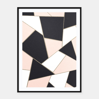 Charcoal Blush White Gold Geometric Glam #1 #geo #decor #art  Plakat mit rahmen obraz miniatury