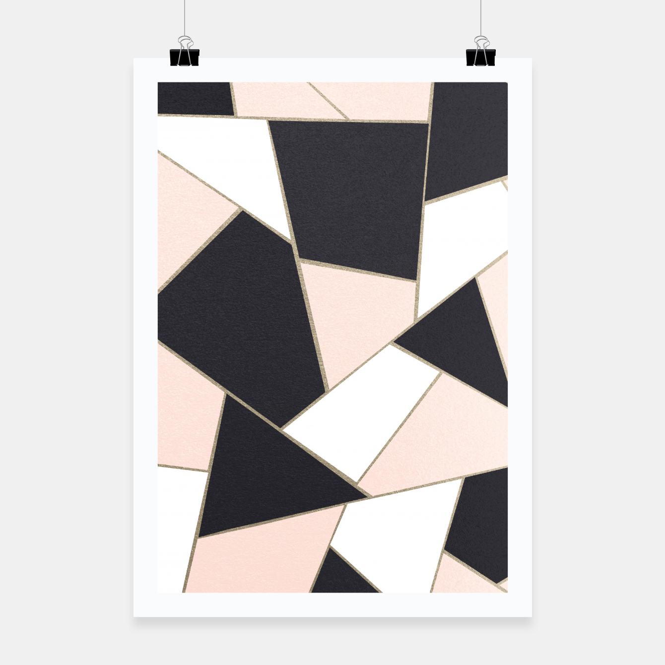 Zdjęcie Charcoal Blush White Gold Geometric Glam #1 #geo #decor #art  Plakat - Live Heroes