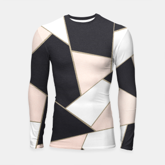 Miniature de image de Charcoal Blush White Gold Geometric Glam #1 #geo #decor #art  Longsleeve rashguard, Live Heroes
