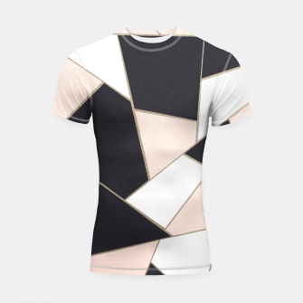 Charcoal Blush White Gold Geometric Glam #1 #geo #decor #art  Shortsleeve rashguard obraz miniatury