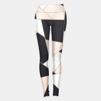 Charcoal Blush White Gold Geometric Glam #1 #geo #decor #art  Leggings obraz miniatury