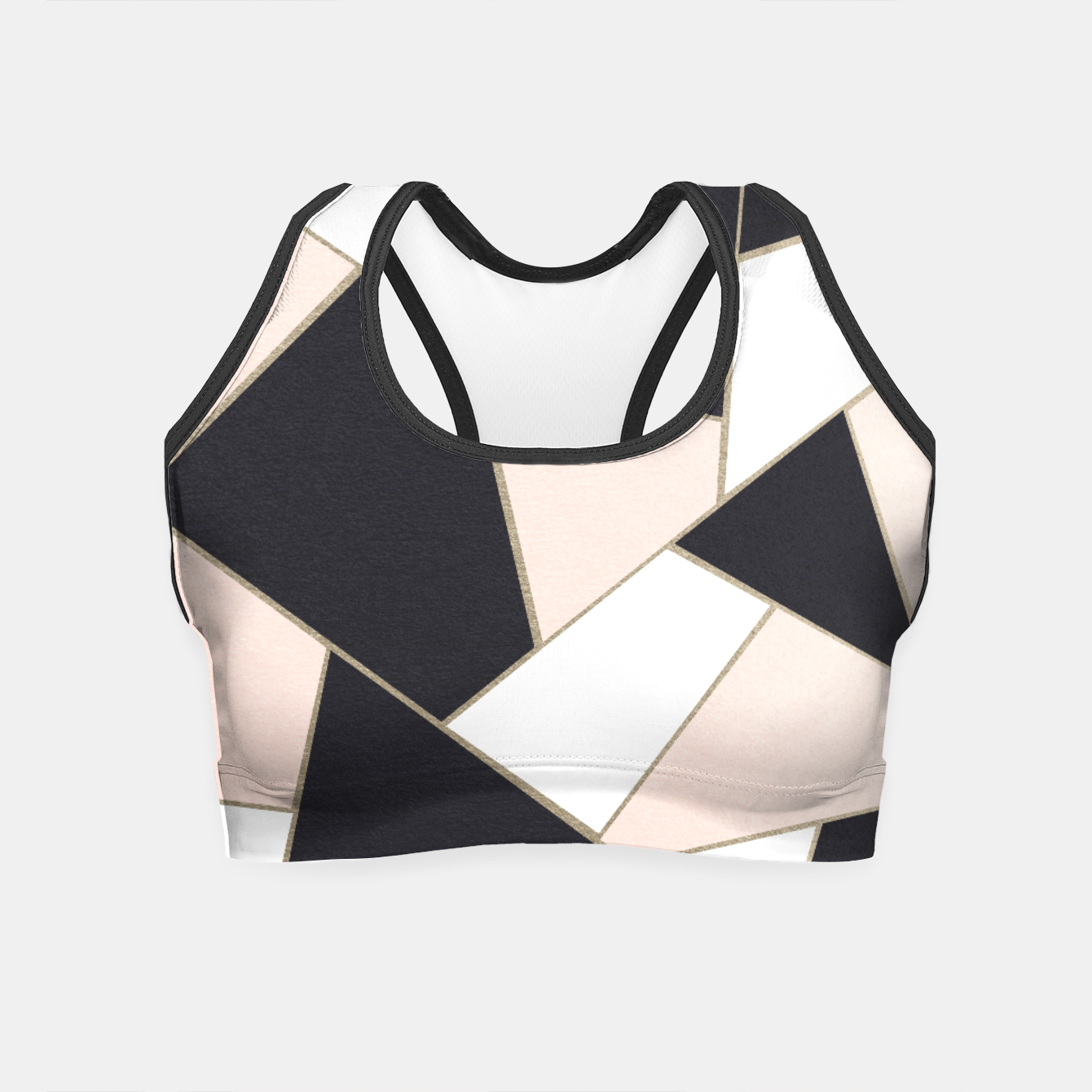 Zdjęcie Charcoal Blush White Gold Geometric Glam #1 #geo #decor #art  Crop Top - Live Heroes