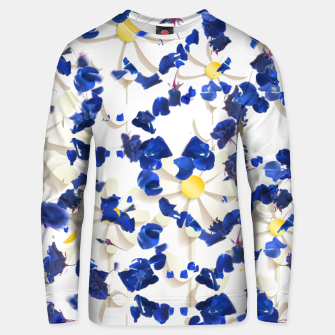 Thumbnail image of white daisies and blue cyclamens floral pattern Unisex sweater, Live Heroes