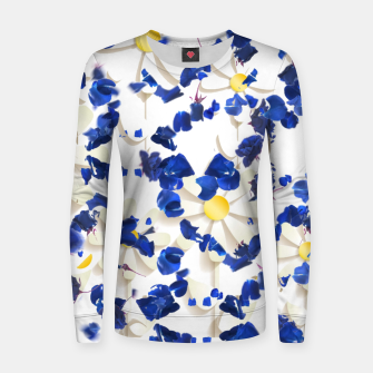 Miniatur white daisies and blue cyclamens floral pattern Women sweater, Live Heroes