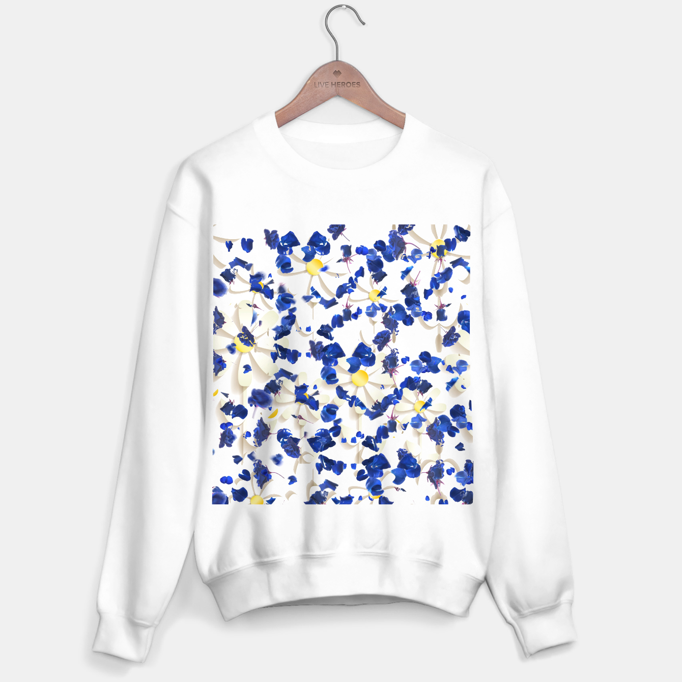 Image of white daisies and blue cyclamens floral pattern Sweater regular - Live Heroes