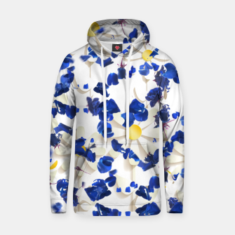 Thumbnail image of white daisies and blue cyclamens floral pattern Hoodie, Live Heroes