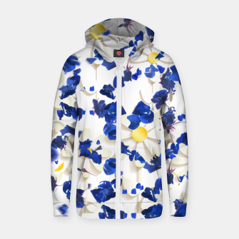 white daisies and blue cyclamens floral pattern Zip up hoodie thumbnail image