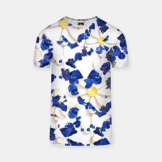 Thumbnail image of white daisies and blue cyclamens floral pattern T-shirt, Live Heroes