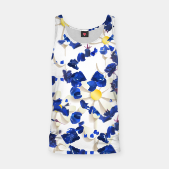 white daisies and blue cyclamens floral pattern Tank Top Bild der Miniatur