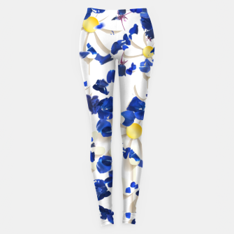 Thumbnail image of white daisies and blue cyclamens floral pattern Leggings, Live Heroes