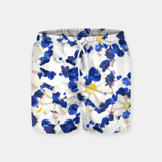 Thumbnail image of white daisies and blue cyclamens floral pattern Swim Shorts, Live Heroes