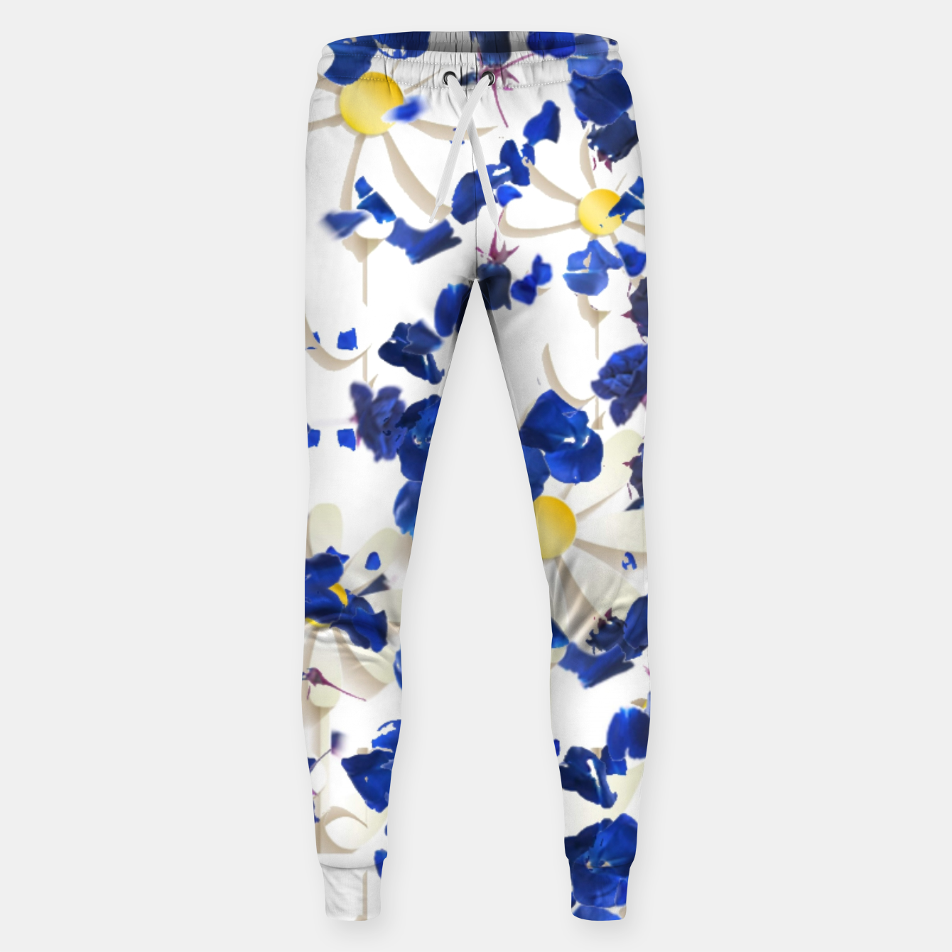Image of white daisies and blue cyclamens floral pattern Sweatpants - Live Heroes