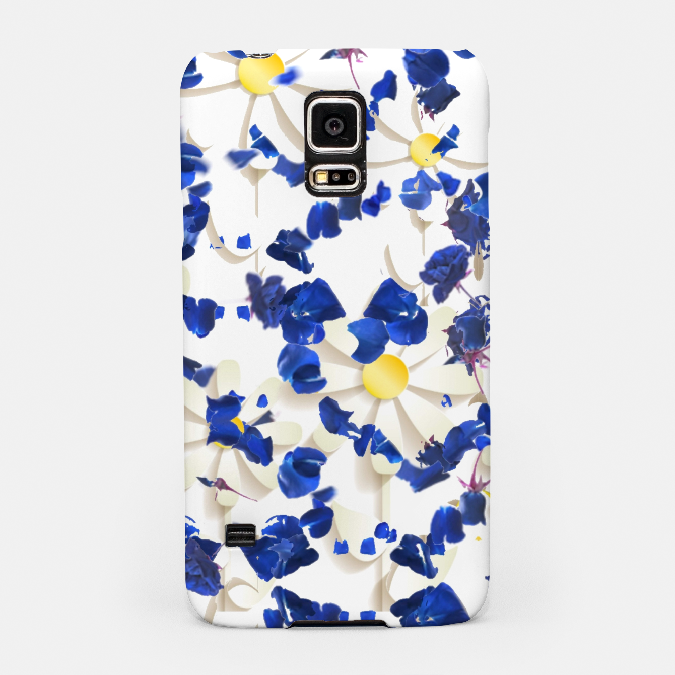 Image of white daisies and blue cyclamens floral pattern Samsung Case - Live Heroes