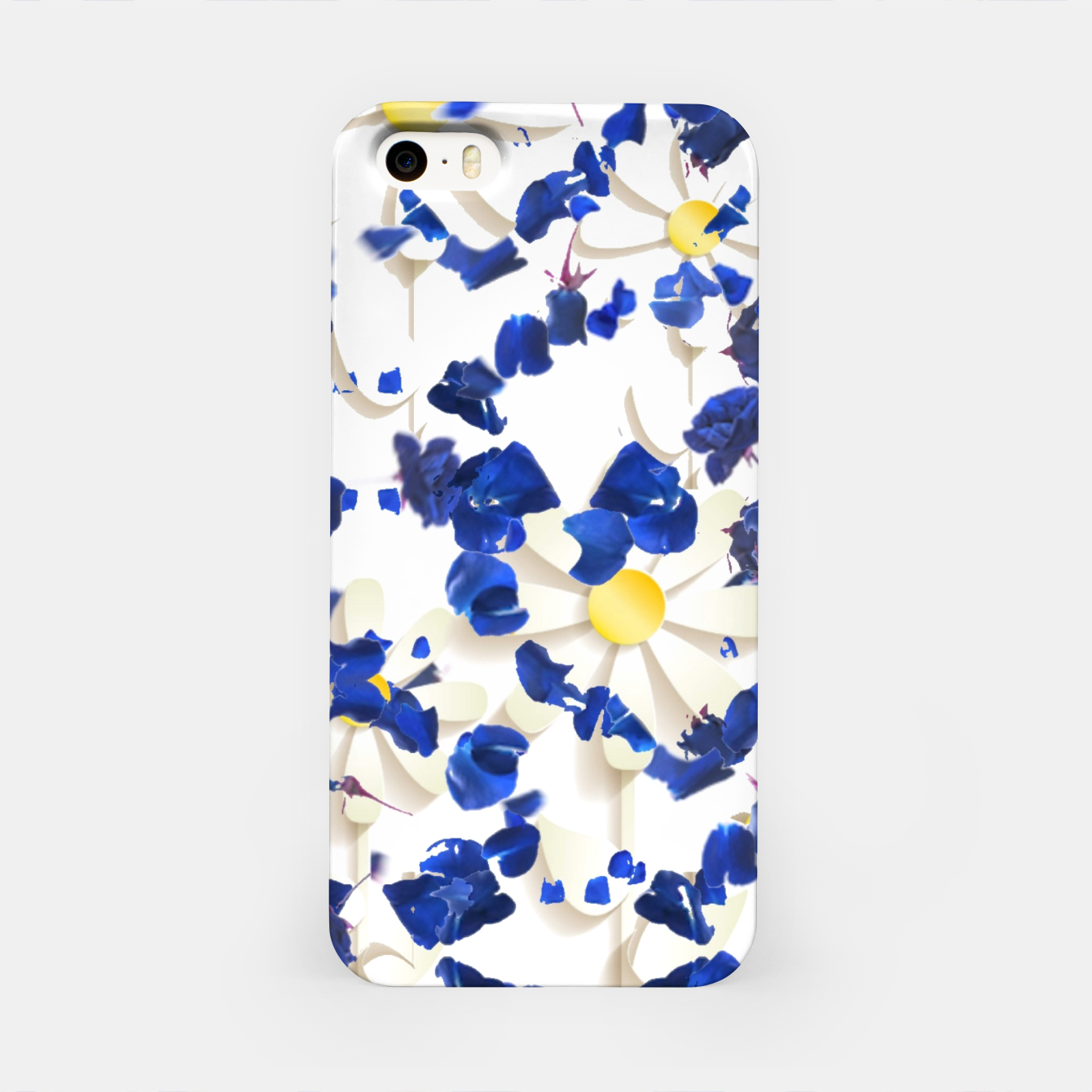 Image of white daisies and blue cyclamens floral pattern iPhone Case - Live Heroes