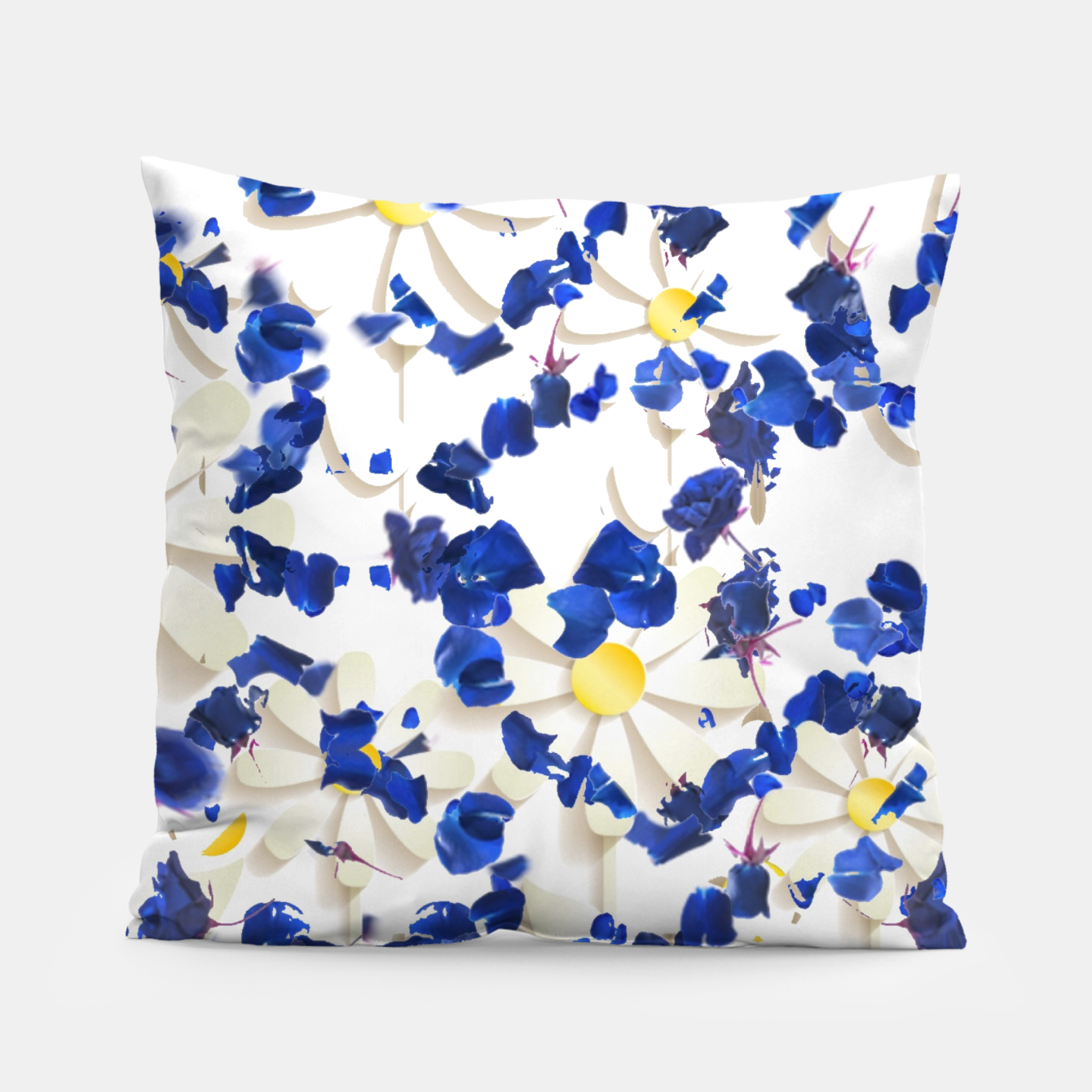 Image of white daisies and blue cyclamens floral pattern Pillow - Live Heroes
