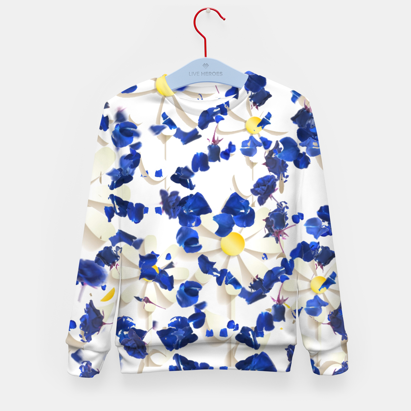 Foto white daisies and blue cyclamens floral pattern Kid's sweater - Live Heroes