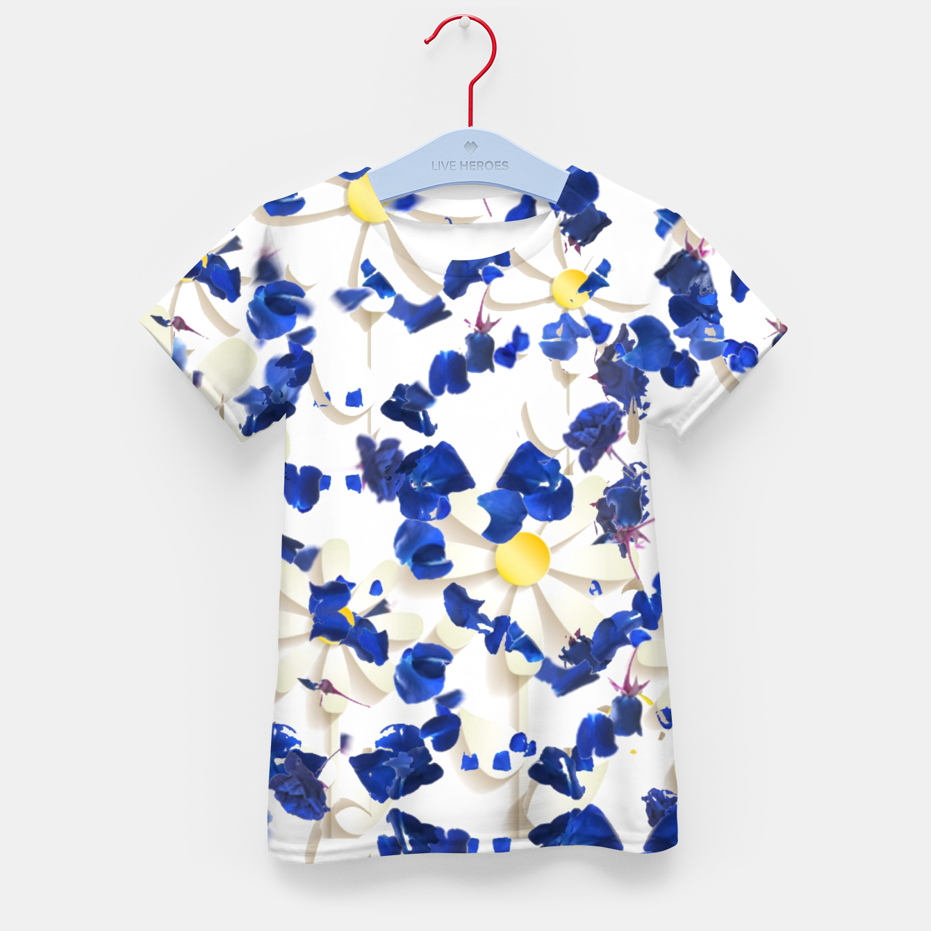 Image of white daisies and blue cyclamens floral pattern Kid's t-shirt - Live Heroes